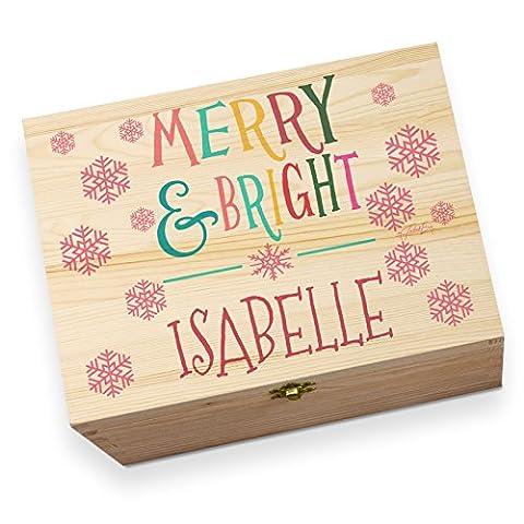 personalisierbar Merry und Bright Holz bedruckt Christmas Eve Box