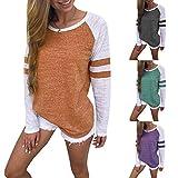 Damen Langarmshirt Herbst Winter Frühling Rundhals Bluse Sweatshirt Langarm T Shirt Hemd Tops Lose Splice Pullover Oberteil Tunika Von BakeLIN (S~XXXXL)