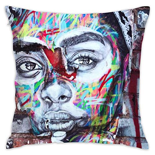 LULABE Graffiti of Woman's Face On Wall Decorative Throw Pillow Modern Square Form Stuffer for Couch Sofa Or Bed Set Cozy Home Decor Size:18 X 18 Inches/45cm x 45cm -