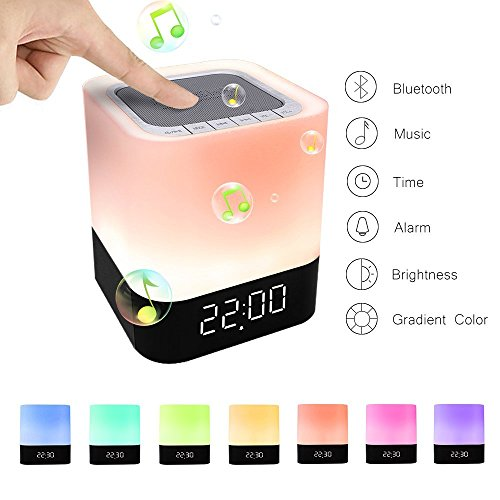 StillCool Lámpara de noche Altavoz Bluetooth Sensor táctil Lámpara de Cambio Color de luz cálida regulable despertador Compatible con 12 / 24H Reproductor de MP3 Tarjeta micro SD/USB / 3.5mm