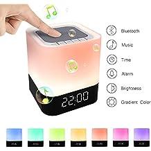 StillCool Lámpara de noche Altavoz Bluetooth Sensor táctil Lámpara de cabecera Cambio Color de luz cálida regulable despertador Compatible con 12 / 24H Calendario digital Reproductor de MP3 Tarjeta micro SD SD / USB / 3.5mm