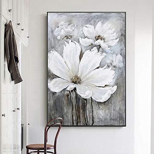 tzxdbh 100% Handgemalte Abstrakte Blumen Kunst Ölgemälde Auf Leinwand Wandkunst Wandschmuck Bilder Malerei Für Live Room Home Decor-in von (85X115 cm) 34X46 Zoll Mit Rahmen -