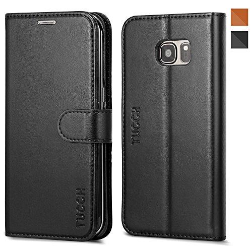 TUCCH - Etui Samsung Galaxy S7 edge, Coque en Cuir Housse à Clapet pour Samsung Galaxy S7 edge, Fermeture à Aimant Format Portefeuille avec Emplacements de Cartes, Fonction Support (5,5 pouces) - Noir