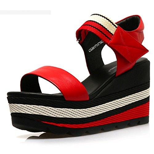 Confortable Pente avec sandales Sandales étanches à talons hauts d'été Chaussures épaisses Chaussures plates en cuir sauvage (3 couleurs en option) (taille facultative) Augmenté ( Couleur : A , taille B