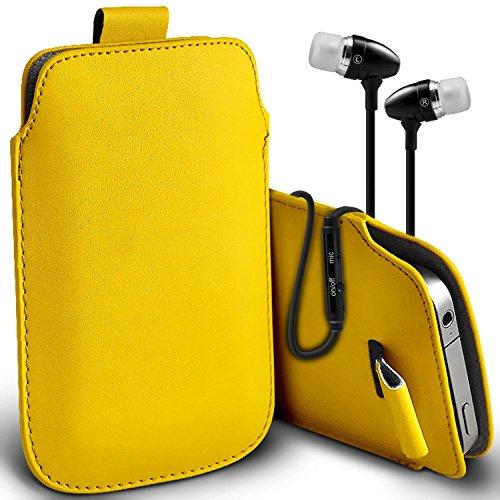 (Weiß + Ohrtelefon) Beutel-Kasten für iPhone 7 Handy Case Premium stilvolle Kunstleder Pull Tab-Beutel-Haut-Kasten Verschiedene Farben Cover wählen Sie aus mit Qualitäts-Einbau in Earbuds Stereo-Freis Pull tab + earphones (Yellow)