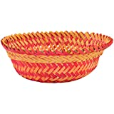 RAJKRUTI Handicraft Wooden Bamboo Hand Made Flower / Fruit Basket (23 Cm X 23 Cm X 7 Cm, WH405)