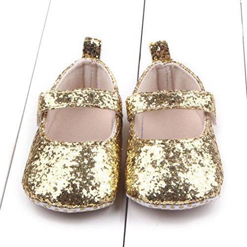 Fulltime® Toddler Baby Girl Semelles souples Crib Shoes Paillettes Sneaker Or
