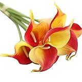 RWINDG 6 PC Künstliche Touch Calla Lily Gefälschte Blume Hochzeit Home Decor Bouquet Wetterfeste Wetterfest RosenköPfe WeißE HäNgepflanze Kleine Stoffblumen