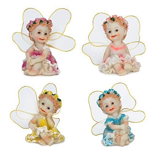 SecretRain Resin Garden Ornament Home & Outdoor Decor Cute and Lovely Sitting Flower Fairies 4pcs Set