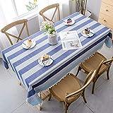 SONGHJ Costura de Lino de Algodón Mesa de Comedor de Tela Azul Mantel Impermeable Borla Decoración Rectángulo Cubierta de Tabla D 90x140cm