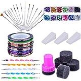 Kit per Unghie Arte con Pennelli di Nail Art, 12 Colori Strass d'Unghie, 2 Modo Penne di Segnare, Colori Assortiti Nastro Adesivo Segnalinee e Spugna Gradiente d'Unghie
