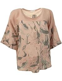Frauen Übergroße italienische Lagenlook Textured Scoop Neck Leinen / Baumwolle Blumen Muster Damen Tunika Top