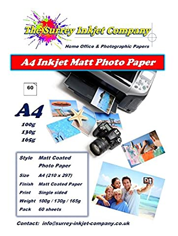 60 Sheets A4 Inkjet Matt Coated Photo Paper.Available in 100g 130g 165g (100g)