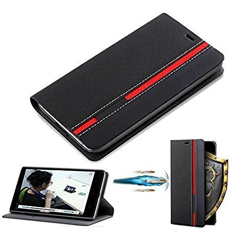 CaseteK Luxury Stylish Thin Leather Flip Wallet Case Stand with Card Holder Cover for HTC Desire 626 G/628/630 - (Black & Red Stripe)
