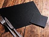 Platzdecken und Untersetzer, je 6 Stück, echtes Kunsthandwerk, schwarze Lederbespannung, hergestellt im Vereinigten Königreic