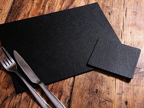 Platzdecken und Untersetzer, je 6 Stück, echtes Kunsthandwerk, schwarze Lederbespannung, hergestellt im Vereinigten Königreich von Giftag -