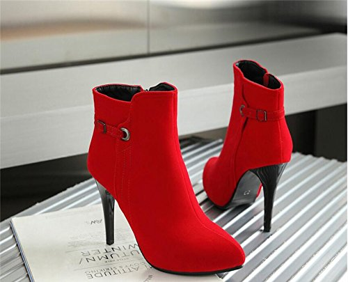 HGTYU-Il vento invernale Martin stivali con cerniera laterale punta fine con ultra elevata con calzature impermeabili stivali con punta di Codice di grandi dimensioni Red