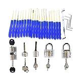 SYG 24pcs Lock Pick Tools with 5pcs Different Transparent Practice Locks,Locksmith Train Set