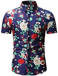 880b510dd3 NANSHIZSCS Camisa de hombre Camisa con Estampado De Flores Hombres Verano  Camisa De Manga Corta Hombres Slim Fit Camisas…