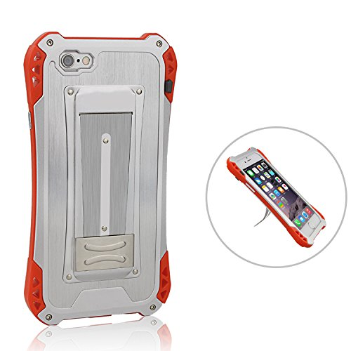 iPhone 6s Case ,iPhone 6 Metal Case ,Topyea Cool Aluminum Metal ABS [Shockproof Dropproof] Full-body Protective Case for iPhone 6s 6 Silver Red silver / Red