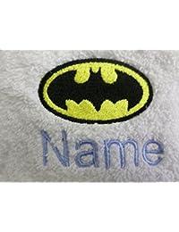 Adultos albornoz con un BATMAN Logo y nombre de su elección en color blanco, tamaño M, L, XL o XXL, Blanco, XXL