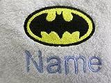 Bademantel für Erwachsene mit einem Batman Logo und Namen Ihrer Wahl in weiß, Größe M, L, XL oder XXL, 100 % Terry-Baumwolle, weiß, M