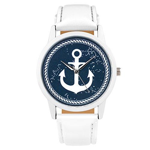 Taffstyle Quarzuhr mit PU Leder Armband und Anker in Maritim Vintage Style - Weiß / Blau