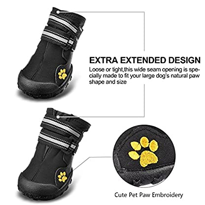 Royalcare Protective Dog Boots, Set of 4 Waterproof Dog Shoes with Wear-resistant and Rugged Anti-Slip Sole Suitable for… 3