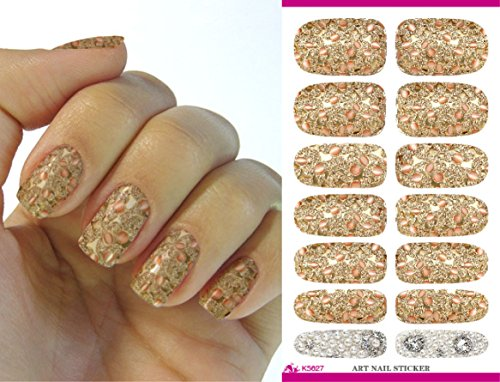 Feuille complète d'autocollant de transfert à l'eau pour l'art des ongles K5627 Nail Sticker Tattoo - FashionLife
