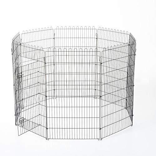 PawHut Recinto Gabbia per Cani Gatti Animali in Acciaio Φ158 × 107cm Nero