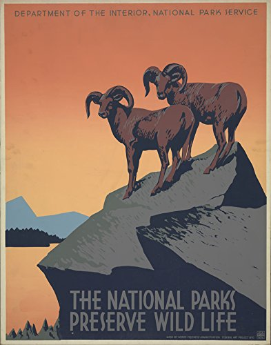 The Poster Collective Vintage The National Parks wertvolle Wild Life Ziegen Tiere WPA USA America Art Deco Reisen, Holz, mehrfarbig, 59,4x 42x 59,4cm (National Park Tiere)