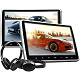 eonon 25,7cm LCD poggiatesta lettore DVD portatile DVD poggiatesta monitor per auto digitale touch screen poggiatesta lettore DVD con digitale touch Button HDMI USB SD Port + cuffie IR Combo C1100A