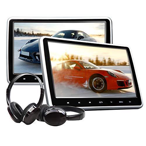 "eonon Car Tragbare Kopfstütze DVD Player mit digitalem 10.1"" zoll LCD Touch Button Video HDMI USB SD Anschluss und IR Headset Combo Drahtloses Spiel C1100A"