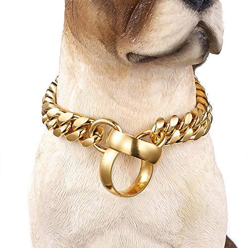 DUPFY 14mm Edelstahl Training P Kette Hundekette, 18 Karat Gold Poliert Kubanische Kette Haustier Hundehalsband Halskette 24inch (Gold Kubanische Ketten)