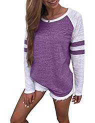 Cindeyar Womens T Shirt Sweatshirt Blouse Tops Ladies Long Sleeve Splice Blouse Tops Clothes T Shirt