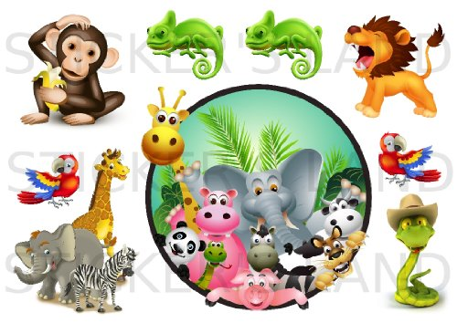 STICKERS DÉCORATIFS ANIMAUX DE LA JUNGLE à découper (Planche à stickers DIMENSIONS 21x28cm en PAPIER ADHESIF TRANSPARENT)