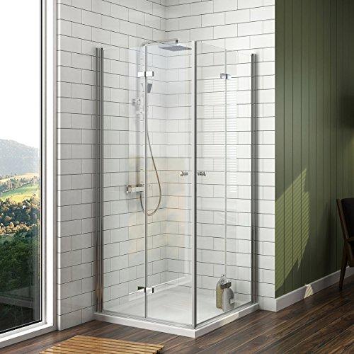 EMKE Duschkabine 80x80cm Duschabtrennung Doppelt Falttür Duschtür Rahmenlos Duschwand Mit Beidseitiger Nano-Beschichtung