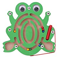 Vektenxi Wooden Animal Shape Board Maze Toy with Magnetic Beads and Guiding Pen, Kids Labyrinth Puzzle Toy Frog Durable and Useful