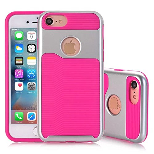 iPhone 7 Coque,Lantier 2 en 1 [Hard Soft Coque robuste][Anti-Skid][Thin Slim Fit][Shock Absorption] Housse de protection Armure Motif vague Pour Apple iPhone 7 (4,7 pouces) Argent+Menthe Verte Silver + Hot Pink