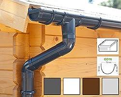 Dachrinnen/Regenrinnen Set | Pultdach (1 Dachseite) | GD16 | in 4 Farben! (Komplettes Set bis 3.50 m, Anthrazit)