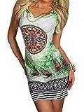 Damen Sommerkleid Drucken Knielang Ärmellos Strandkleid Tunika Kleid Grün 2XL