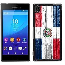 FJCases República Dominicana Dominico Bandera con Patrón de Madera Carcasa Funda Rigida para Sony Xperia M4 Aqua