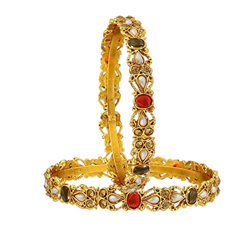 Zeneme Kundan Polki Gold Plated Bangles Jewellery for Women / Girls (2.8)  available at amazon for Rs.99