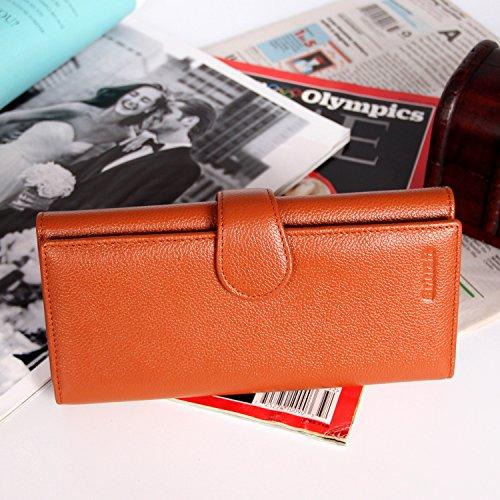 Donna RFID bloccante Portafoglio Trifold Ladies Borsa da viaggio in pelle di lusso in pelle marrone Marrone