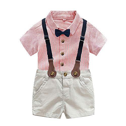 CARETOO Baby Jungen Bekleidungssets Kleidung Set Streifen Shirt + Hose Baby Fliege Anzug für Baby Geburtstagsparty Kleid