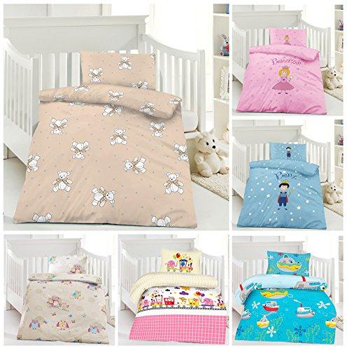 Kinder Bettwäsche, Babybettwäsche 100x135 cm + 40x60 cm 100% Baumwolle für Jungen und Mädchen in verschiedenen Designs Teddy (Baby Mädchen Teddy-bettwäsche-set)