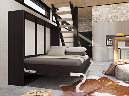 Schrankbett 140x200 cm Horizontal Wenge Schrankklappbett & Wandbett, ideal als Gästebett - Wandbett, Schrank mit integriertem Klappbett, SMARTBett