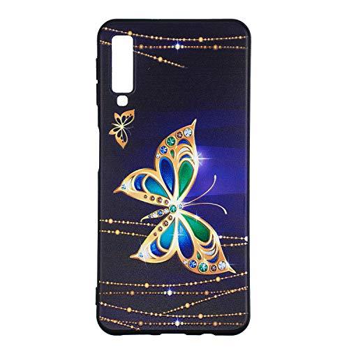 Carols Samsung Galaxy A7 (2018) Cover, [Black] Cover Case Bumper Caso Matte Matte Silicone Gel per Samsung Galaxy A7 (2018) - Golden Butterfly 01
