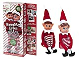 from PMS PMS set Of 2 Novelty Naughty Adult Mischievous Christmas Elf Sit On Shelf Red White Model 5050565284129