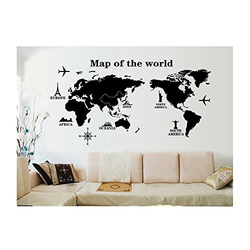 UberLyfe World Trip Map Wall Sticker Size 4 (Wall Covering Area: 80cm x 140cm) - WS-000131